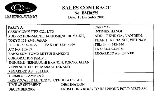điều khoản tên hàng và số lượng trong hợp đồng mua bán