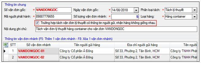 Hướng dẫn khai báo tách vận đơn trên phần mềm ECUS5VNACCS